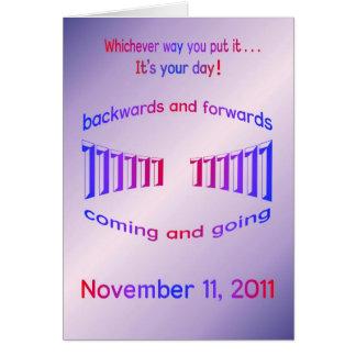 Cartão Palindrome do feliz aniversario 11-11-11