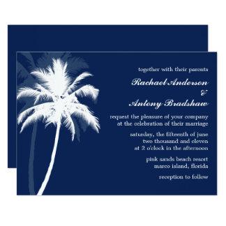 Cartão Palmeiras azuis da brisa tropical que Wedding