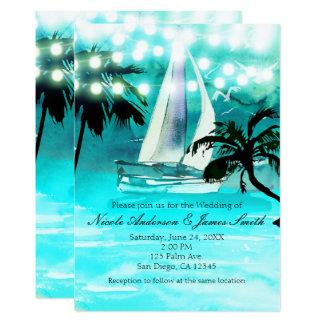 Cartão Palmeiras do veleiro da aguarela & luzes da corda