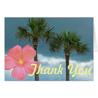 Cartão Palmeiras e obrigado do hibiscus você