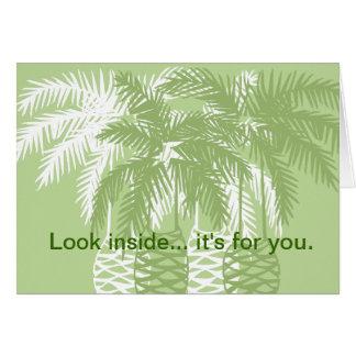 Cartão Palmeiras verdes com tarantula