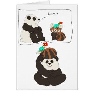 Cartão Panda vermelha da panda