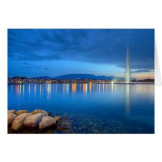 Cartão Panorama de Genebra com fonte famosa, suiça,