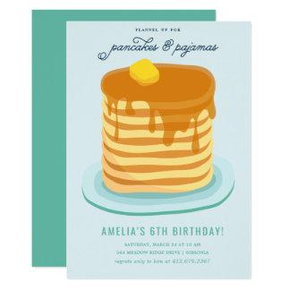 Cartão Panquecas e festa de aniversário dos pijamas