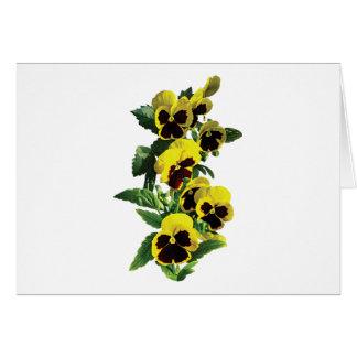 Cartão Pansies amarelos da cascata
