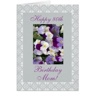 Cartão Pansies - aniversário do 80 da mãe
