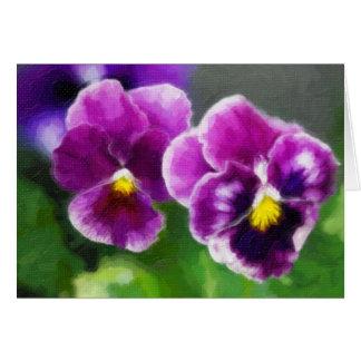 Cartão Pansies roxos