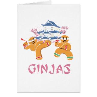 Cartão Pão-de-espécie de Ninja do Natal de Ginjas Ninjas