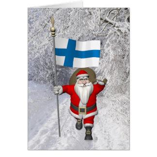 Cartão Papai Noel alegre com a bandeira de Finlandia