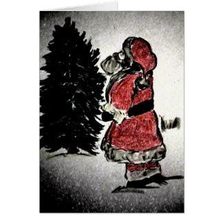 Cartão Papai Noel & árvore