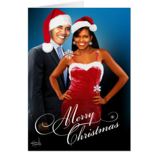 Cartão Papai noel Barack Michelle Obama do Feliz Natal