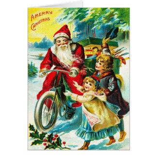 Cartão Papai noel bicicleta do vintage & Feliz Natal das