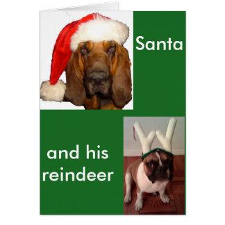 Cartão Papai noel Bloodhound e buldogue francês da rena
