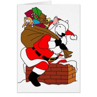 Cartão Papai noel branco de bull terrier