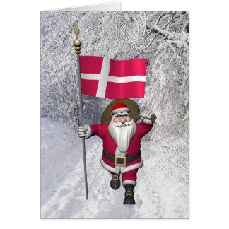 Cartão Papai Noel com a bandeira de Dinamarca Dannebrog