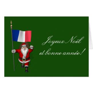Cartão Papai Noel com a bandeira de France