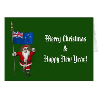 Cartão Papai Noel com a bandeira de Nova Zelândia