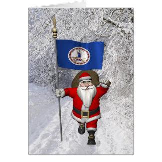 Cartão Papai Noel com a bandeira de Virgínia
