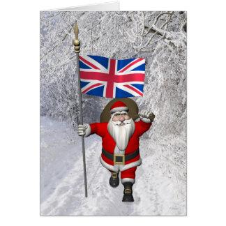 Cartão Papai Noel com a bandeira do Reino Unido