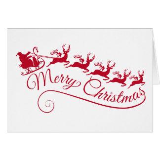 Cartão Papai Noel com seus trenó e rena