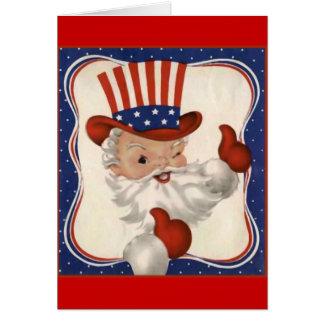 Cartão Papai Noel como o tio Sam