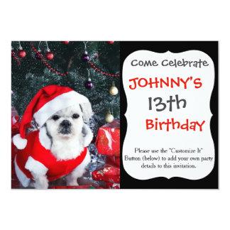 Cartão Papai noel da caniche - cão do Natal - cão de