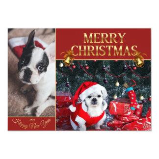 Cartão Papai noel da caniche - cão do Natal - pug
