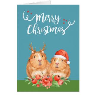 Cartão Papai noel das cobaias do Natal e grinalda da rena