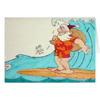 Cartão Papai noel de Surfin
