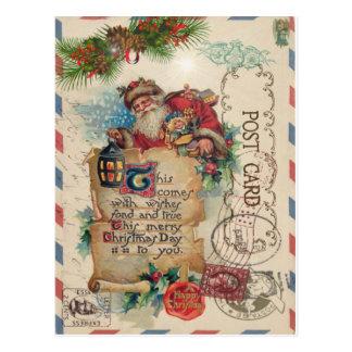 Cartão Papai Noel do correio aéreo do natal