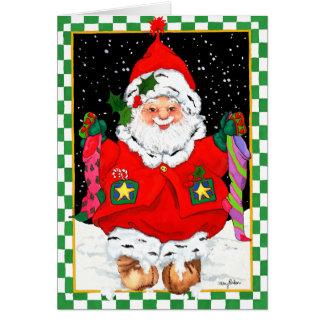 Cartão Papai noel do duende com meias
