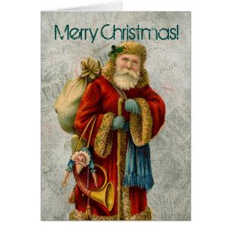 Cartão Papai noel do Natal do Velho Mundo do vintage