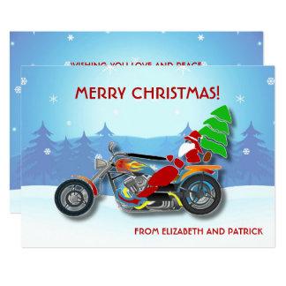 Cartão Papai noel do Natal que monta a bicicleta do