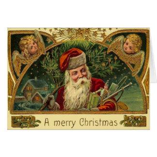 Cartão Papai noel do natal vintage com anjos do querubim