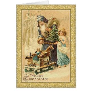 Cartão Papai noel do vintage e Natal do alemão da menina