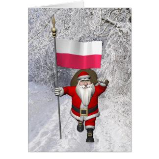 Cartão Papai Noel doce com a bandeira do Polônia