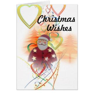 Cartão Papai noel e corações, desejos do Natal