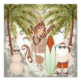 Cartão Papai noel e Feliz Natal da praia da prancha que