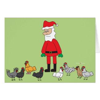 Cartão Papai noel e galinhas
