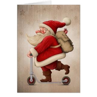 Cartão Papai Noel e o patinete do impulso
