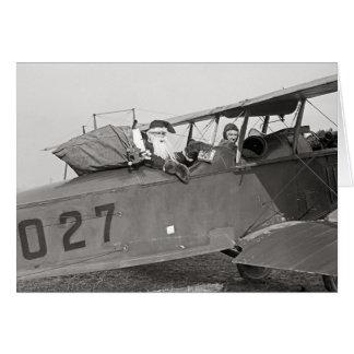 Cartão Papai noel em um avião, 1921