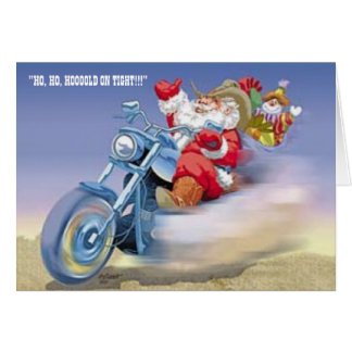Cartão Papai noel em um Harley