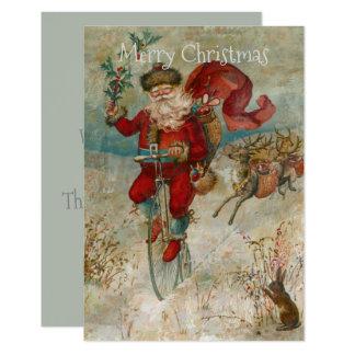 Cartão Papai Noel em uma bicicleta