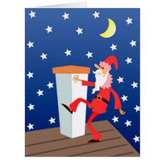 Cartão Papai noel engraçado do Feliz Natal grande no