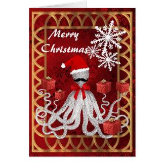 Cartão Papai noel engraçado do polvo do Natal no damasco
