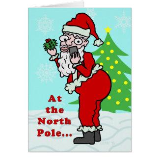 Cartão Papai noel engraçado Elfie do Natal