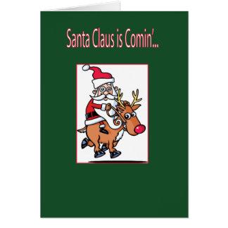 Cartão Papai Noel está vindo