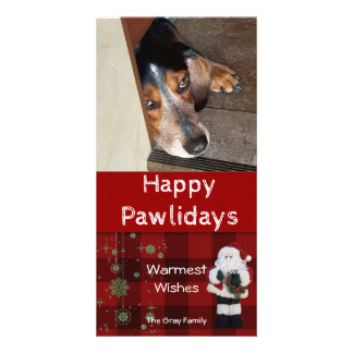 Cartão Papai noel feliz personalizado da foto | Pawlidays