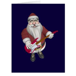Cartão Papai Noel musical com a guitarra elétrica