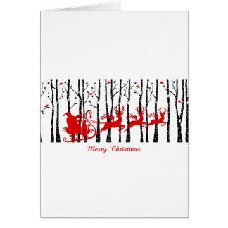 Cartão Papai noel na floresta da árvore de vidoeiro